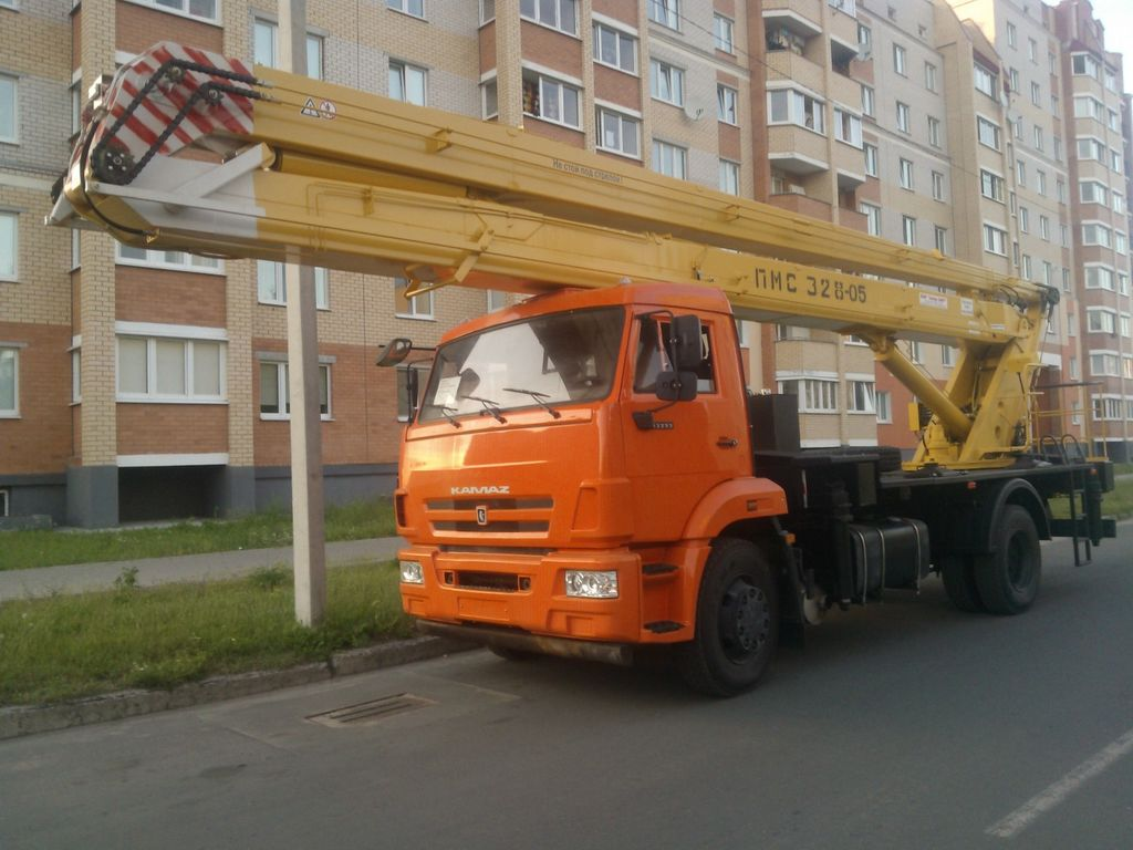 новая автовышка КАМАЗ 43253, ПМС-328-05